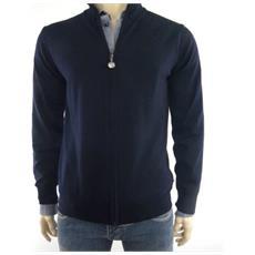Maglione Uomo Full Zip Xl Blu