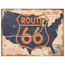 Stampa `route 66` Su Tela In Juta Grezza Anticata L60xpr1,9xh45 Cm