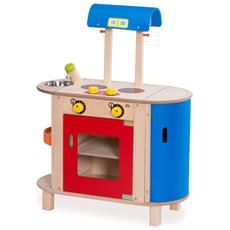 Cucina Giocattolo In Legno Blu E Rosso Hout192443