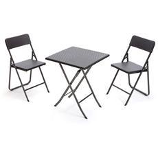 Tavolino Bar Quadrato Con Sedie Pieghevoli