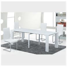 Tavolo design allungabile e richiudibile - in legno laccato bianco