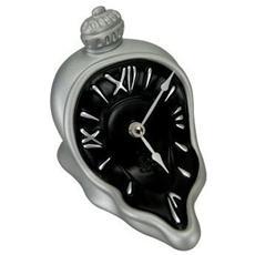 Orologio da tavolo ''Orologio ore sciolte'' in resina decorata a mano Meccanismo al quarzo tedesco UTS Dimensione cm 13x16x14 Colore alluminio e nero