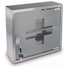 Cassetta Del Primo Soccorso Pensile Vuota In Acciaio Inox Con Anta In Vetro Satinato 30x30x12 Cm