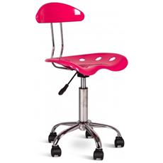 Sedia Alzabile In Plastica Rosa Con Base Cromata E Rotelle Mod. titti Om 126 Ra