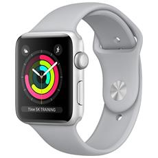 Watch Serie 3 con GPS e cassa da 42 mm in Alluminio colore Argento e cinturino Sport nebbia