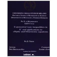 Exponential-type inqualities in n and applications to elliptic and biharmonic equations
