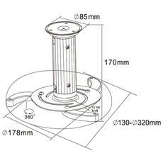 Supporto Da Soffitto Per Proiettori Beamer-c80white Universale Per Proiettori E Videoproiettori Altezza Regolabile Da