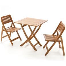 Tavolo Da Giardino In Acacia Con Due Sedie