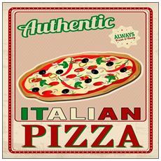 Quadro Su Tela Vintage 40x40 Cm Authentic Pizza
