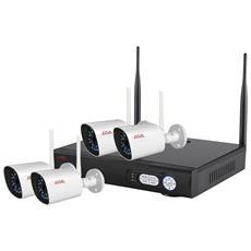 Kit Videosorveglianza Wireless Ip 4 Canali Con Telecamere 1,3 Mpx Hdd Incluso, Spazio Disco 2 Tb