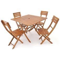 Set Tavolo con Sedie in Legno d'Acacia Pieghevoli