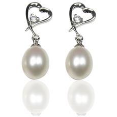 Orecchini Cuore Perle Coltivate Bianco E 925 Argento - Bps 0110 Y