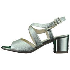 d7f9f2b15ee7e VALLEVERDE - Sandalo Scarpe Tacco Basso Pelle Donna Platino Gioiello  Platino 38