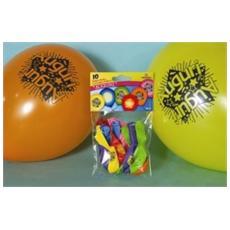 Confezione 10 Palloncini Con Scritta Auguri In Colori Assortiti