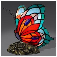 Farfalla Abat Jour Lampada Da Comodino In Vetro Stile Tiffany