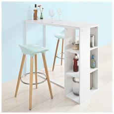 Bancone Bar Da Casa Tavolo Cucina Altezza 105 Cm, bianco, fwt39-w