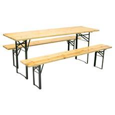 Set tavolo + 2 panche richiudibili in acciaio e legno naturale verniciato