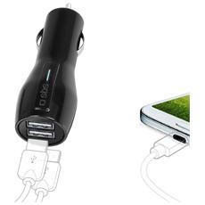 Caricabatterie da Auto12/24V, 2 uscite USB 3,1 A - Nero