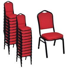 Sedia Da Tavola Imbottita Rosso Impilabile 20 Pz