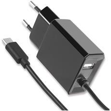 IPW-USB-MICRO-235 - Caricatore USB-C con uscita USB A e Spina Europea 2 pin Nero