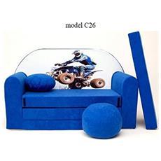 Divanetto Transformabile In Lettino Blu / bianco Quad C26