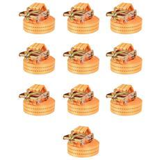 Cinghie d'Ancoraggio 10 pz a Cricchetto 2 T 6mx38mm Arancione