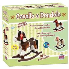 Cavallo a dondolo per bambini in legno Altezza 64 cm Nitre e Galoppa