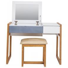 Tavolo Consolle Moderna 1 Seduta 2 Cassetti Legno Bianco Blu