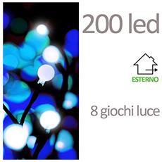 Noel Luci 200 Led Con Bulbi E Giochi Di Luce, Plastica, Bianco