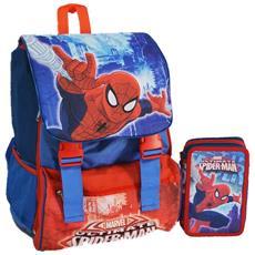 Kit Scuola School Pack Zaino Estensibile + Astuccio 3 Zip Marvel Spiderman