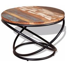 Tavolino Da Caffè In Legno Massello Recuperato 60x60x40 Cm