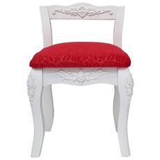 Sedia Sgabello Imbottito Bianco Rosso Decorazioni Floreali Stile Classico