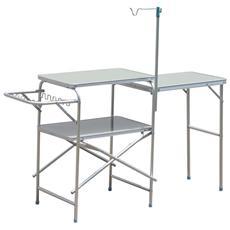 Tavolino da Picnic Pieghevole in Lega d'Alluminio, 154.5x40.5x82cm