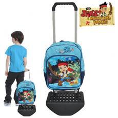 40623m1 Zaino Scuola E Tempo Libero Con Carrellino E Ruote Jake Il Pirata Trolley Disney 27 X 14 X 38 Cm