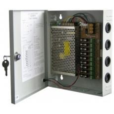Alimentatore Videosorveglianza Switching in Rack Metallo 12Volt 10A 120W 9 Canali On / Off VS-PSU-005