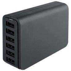 IPW-USB-6PB - Carica Batterie da Tavolo 6 USB 12A per Smartphone Tablet Nero