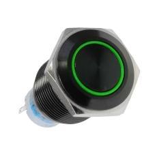 Spingere Interruttore Nera e Verde Acciaio 24 V 22 mm 19 mm LAMP-LEDPR3002