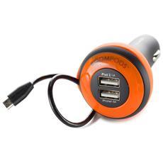 Carpod Car caricabatt. 4 Amp Micro-USB arancio