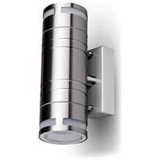 Lampada Da Muro Applique 2 X Gu10 Acciaio Inox Esterno Ip44 Vt-7632 7504