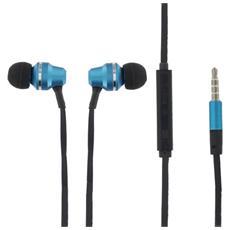 Cuffie Auricolari Premium In-ear Headset 3,5mm Con Controllo Volume Blu Per Running Jogging E Sport