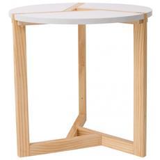 Tavolino Salotto Tavolo Basso Legno Bianco Beige Moderno Sala