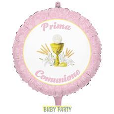 Palloncino Mylar Prima Comunione Rosa Ø 45 Cm