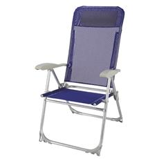 Sedia Pieghevole in Alluminio Reclinabile 5 Posizioni Tessuto Textilene Blu