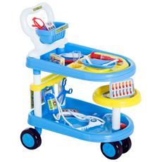 Carrello Gioco Dottore Per Bambini Dimensioni 47x30x55cm Colore Blu