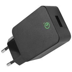 IPW-USB-QC3BF - Caricatore USB 3A Quick Charge 3.0 Spina Europea 2pin Nero