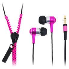 SB-HP ZIP-PK - Auricolari Stereo Zipper con Microfono e Telecomando Fucsia