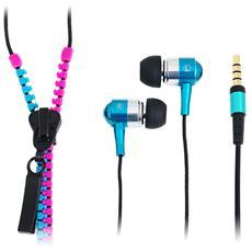 SB-HP ZIP-PKBL - Auricolari Stereo Zipper con Microfono e Telecomando Fucsia / Azzurro