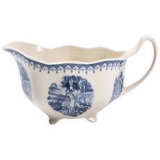 Coppia Salsiere In Stile Inglese L10xpr19xh10 Cm In Ceramica Decorata Bianca E Blu