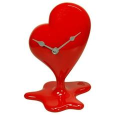 Orologio da tavolo ''Orologio cuore sciolto'' in resina decorata a mano Meccanismo al quarzo tedesco UTS Dimensione cm 16x13x23 Colore rosso lucido