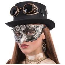 Maschera Steanpunk Argento C / becco Cf1